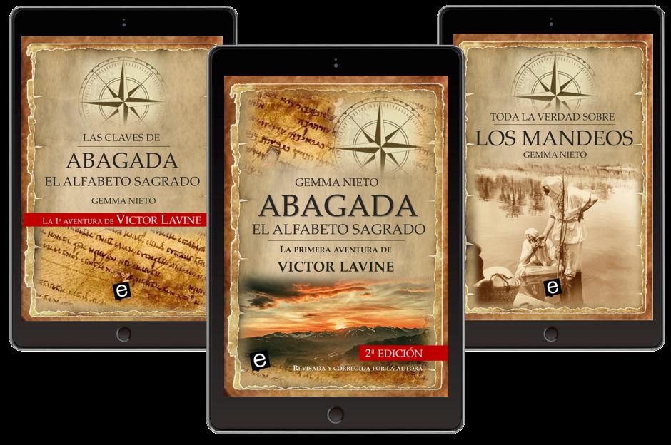 """Obsequios por adquirir la novela """"Abagada, el alfabeto sagrado"""" y por suscribirse a la web www.gemmanieto.com"""